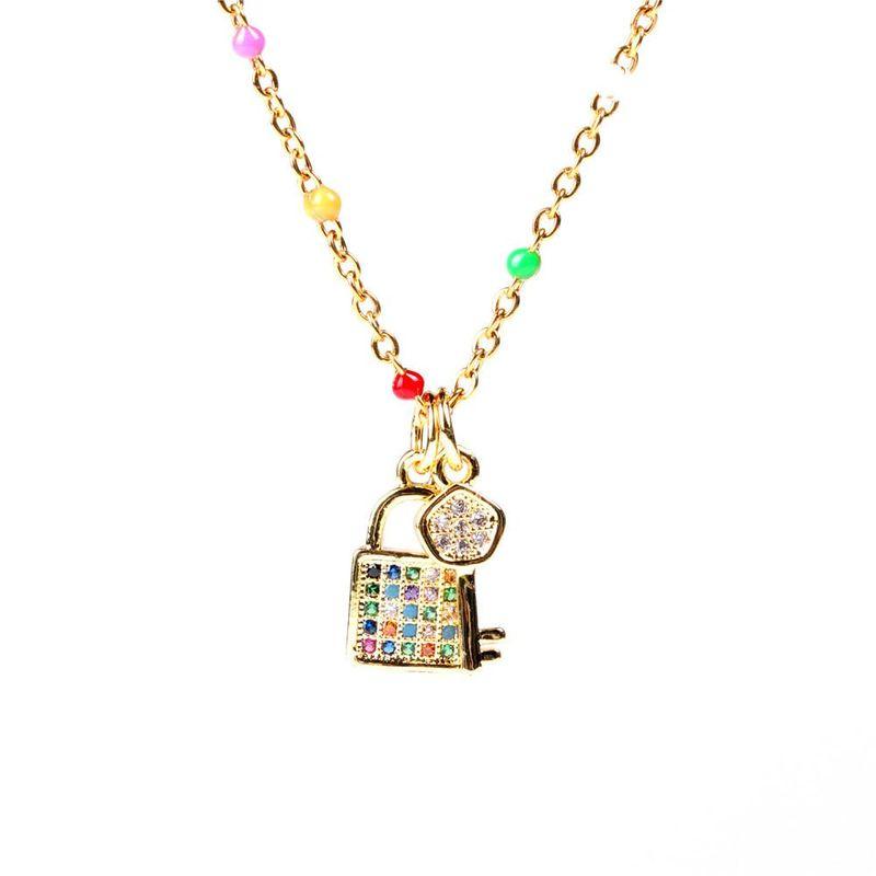 New Fashion Diamond Small Lock Key Pendant Necklace Love Lock Fashion Clavicle Chain NHPY211588