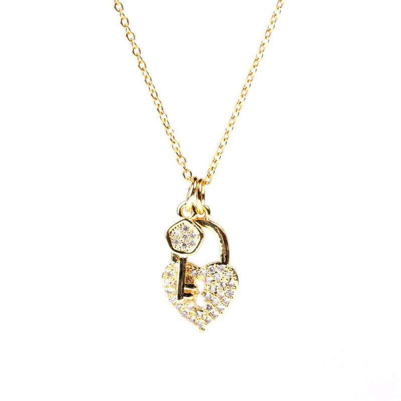 New fashion micro diamond love lock pendant necklace love lock key clavicle chain NHPY211590