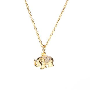 New retro full diamond elephant pendant necklace wild diamond pendant clavicle chain NHPY211592's discount tags