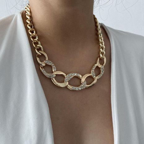 New retro hollow handmade necklace punk thick chain exaggerated micro-set necklace NHXR211599's discount tags