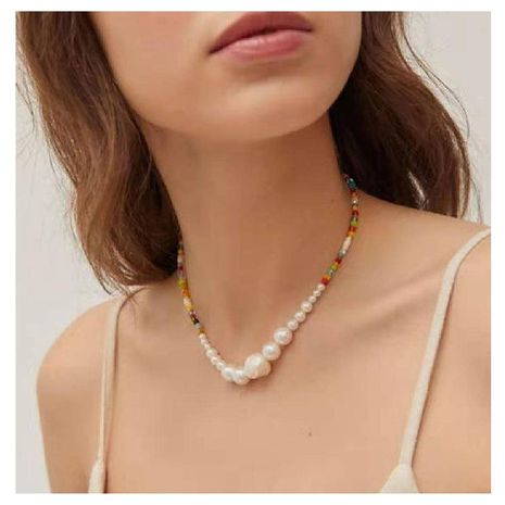 Bohemian colored rice bead necklace necklace shaped pearl choker necklace NHCT211623's discount tags