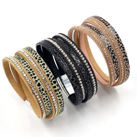 Coréen nouvelle mode multi-éléments en cuir autocollants diamant bracelet boucle magnétique multicouche bracelet en gros NHHM211628's discount tags