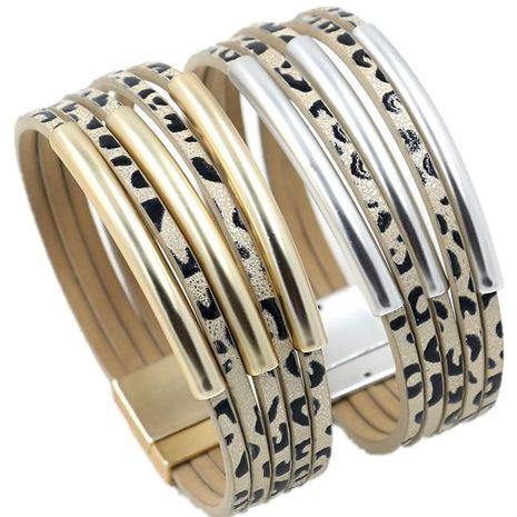 Coréen nouveaux bijoux de mode givré or coude multi-couche PU léopard point bracelet femme en cuir bracelet en gros NHHM211630's discount tags