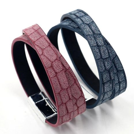 New fashion retro multi-layer winding leather bracelet stone grain PU leather magnetic buckle bracelet NHHM211633's discount tags
