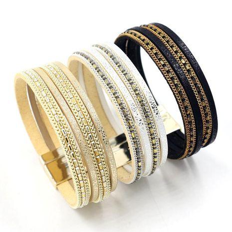 Coréen nouvelle mode multi-élément en cuir bracelet chaîne boucle magnétique multi-couche bracelet 3 couleurs en gros NHHM211635's discount tags