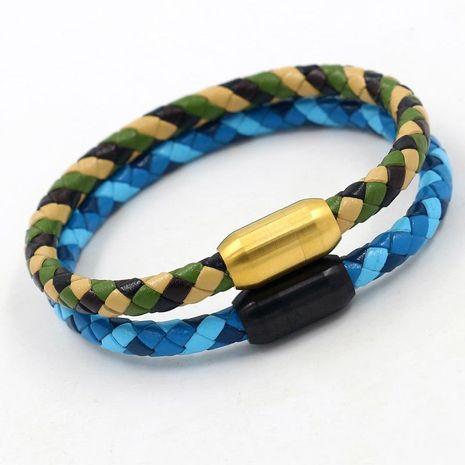 Nouvelle mode tricolore cuir de vachette tressé camouflage en acier au titane boucle magnétique bracelet en gros NHHM211638's discount tags