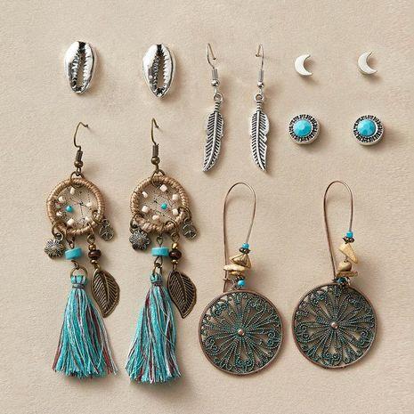 Nouveau mode dream catcher shell boucles d'oreilles en plumes set 6 paires de boucles d'oreilles rétro de style ethnique set en gros NHPJ211640's discount tags