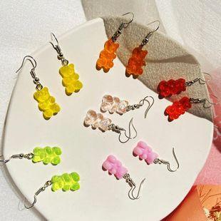 New transparent candy color bear earrings creative retro simple bear earrings NHPJ211645's discount tags