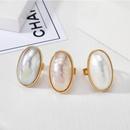 New fashion imitation motherofpearl ring exaggerated pearlescent adjustable ring wholesale NHGO211648