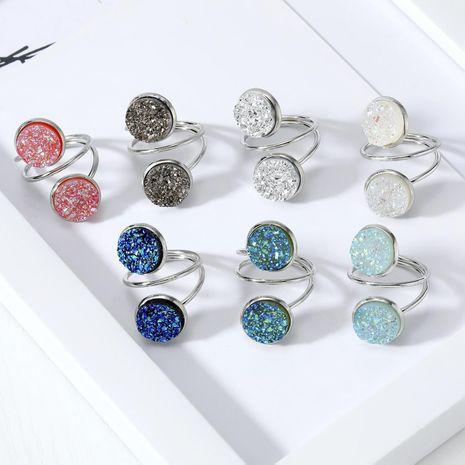 New fashion imitation natural stone ring resin adjustable ring wholesale NHGO211650's discount tags