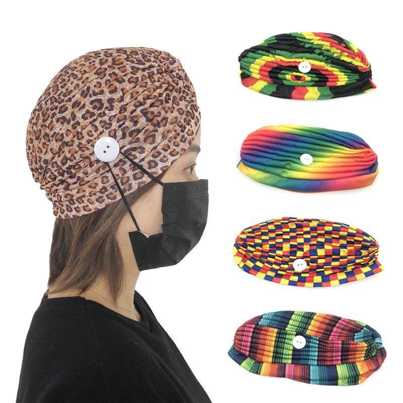 The new fashion colorful stripe fabric headband button anti-le hairband wholesale NHDM211656