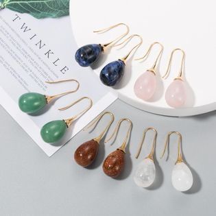New fashion natural stone drop earrings wholesale nihaojewelry NHLN211666
