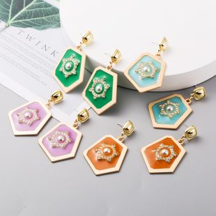 New fashion geometric diamond-set pearl earrings retro alloy dripping earrings NHLN211668's discount tags