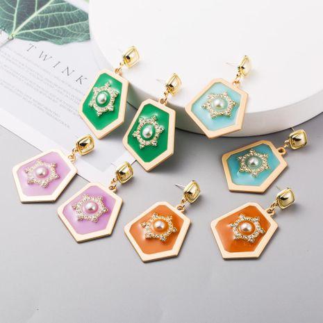 Pendientes de perlas geométricas de diamantes de nueva moda pendientes de goteo de aleación retro NHLN211668's discount tags