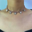 New fashion geometric single layer threedimensional zircon necklace with diamond small butterfly tassel necklace NHXR210580