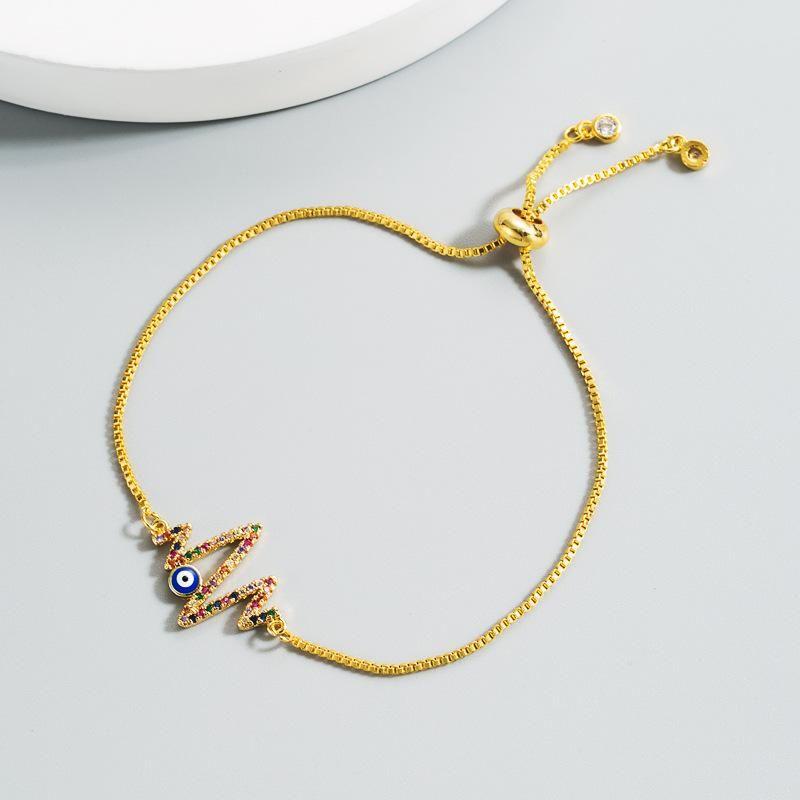 New ECG Devil's Eye Bracelet with Colored Zircon Copper Plated 18K Gold Adjustable Bracelet NHLN211390