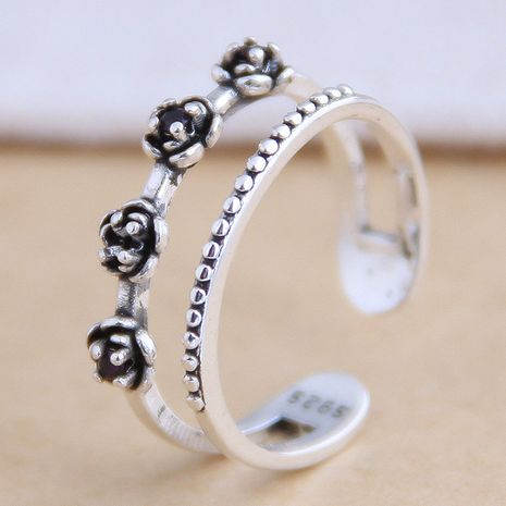 New fashion retro rose open ring yiwu nihaojewelry wholesale NHSC212288's discount tags