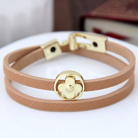 Fashion sweet OL metal four-leaf clover double leather bracelet nihaojewelry china wholesale NHSC212308's discount tags