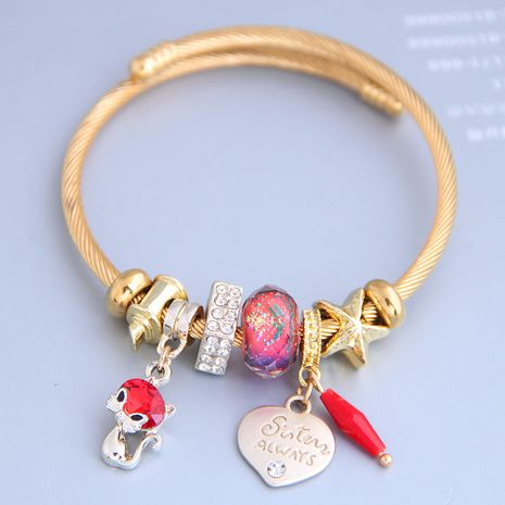 New fashion simple cute cat love pendant multi-element bracelet yiwu nihaojewelry wholesale NHSC212296's discount tags