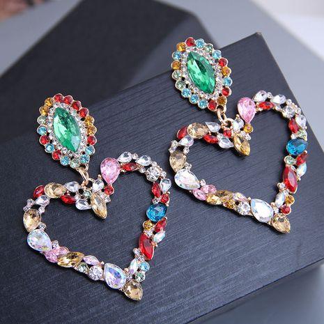 New fashion metal flash diamond love exaggerated earrings yiwu nihaojewelry wholesale NHSC212297's discount tags