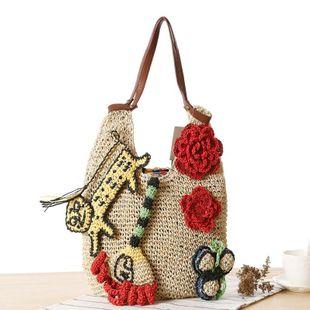 Spring new hand-woven female bag straw bag fashion shoulder bag casual big bag NHGA211949's discount tags