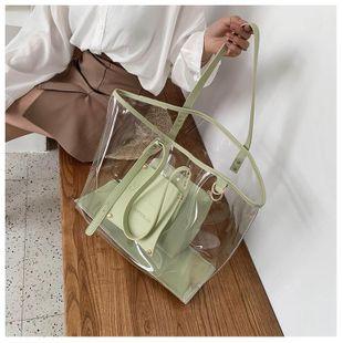 PVC transparent bag large-capacity shopping bag bag new plastic fashion shoulder bag NHGA211961's discount tags