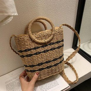 Summer new woven female bag portable messenger straw bag beach beach holiday fashion retro rattan bag NHGA211977's discount tags