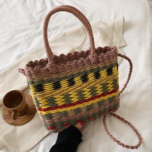 Color woven female bag summer new straw bag fashion portable messenger bag shoulder bucket bag NHGA211978's discount tags