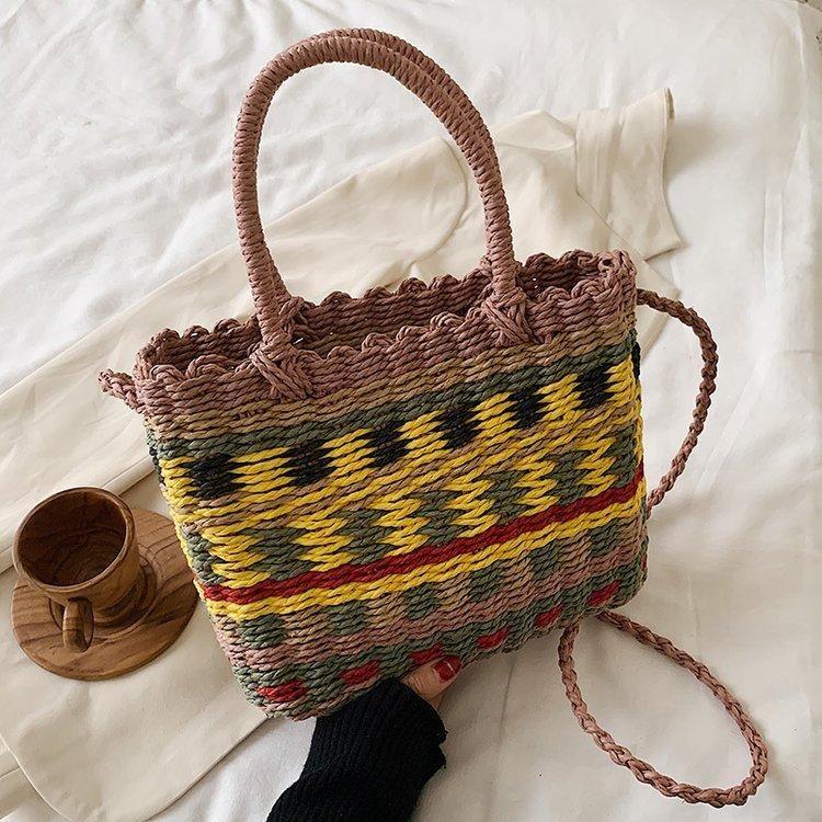 Color woven female bag summer new straw bag fashion portable messenger bag shoulder bucket bag NHGA211978