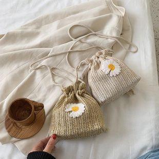 Straw bag spring new female bag flower woven bucket bag shoulder messenger bag mobile coin purse NHGA211979's discount tags