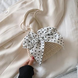 Scarf straw bag spring new cotton rope woven bucket small bag shoulder messenger hollow bag NHGA211980's discount tags