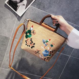 Summer new handbag fashion embroidered embroidered beach bag shoulder portable crossbody bag NHGA211983's discount tags