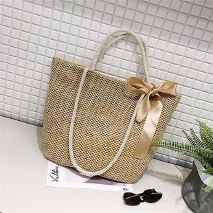 New woven straw bag large capacity simple holiday beach bag literary fan shoulder messenger bag NHGA211987's discount tags