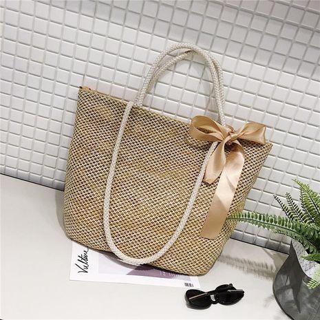 Nueva bolsa de paja tejida de gran capacidad bolsa de playa de vacaciones simple bolsa de mensajero de hombro de ventilador literario NHGA211987's discount tags