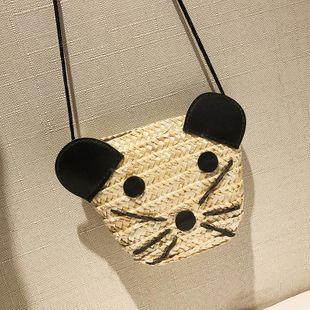 Straw bag summer new female bag cartoon anime shoulder messenger beach bag NHGA211988's discount tags