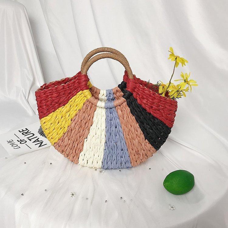 Handmade Woven Female Bag Rainbow Stripe Straw Bag Handbag Holiday Beach Bag NHGA211991