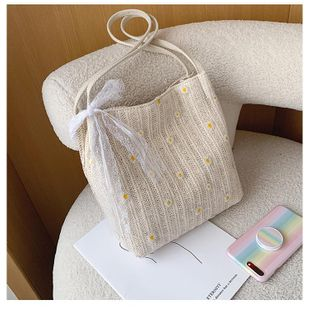 Large capacity female bag new fashion small daisy streamer bucket bag wholesale NHTC212053's discount tags