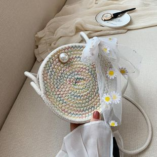 The new trendy fashion messenger bag wild ladies single shoulder straw small round bag wholesale NHTC212091's discount tags