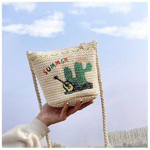 New trendy Korean fashion wild woven messenger bag straw bucket bag NHTC212097's discount tags