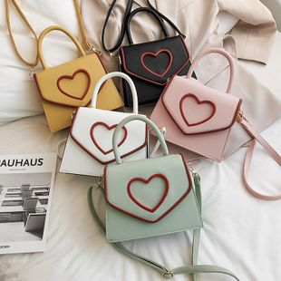 New Korean fashion girl heart-shaped portable small square bag shoulder messenger bag NHPB212118's discount tags