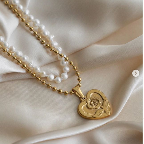 Pearl double-layer necklace alloy love pendant yiwu nihaojewelry wholesale NHMD212268's discount tags