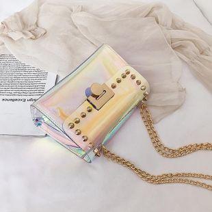 New Korean fashion wild laser jelly bag spring fashion rivet chain shoulder messenger small square bag NHPB212166's discount tags