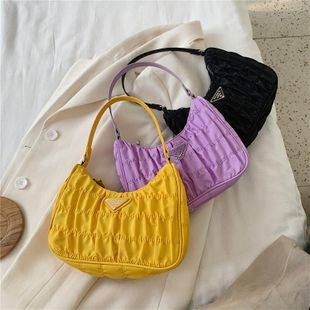 New fashion spring hundred triangle solid color shoulder bag fold crossbody bag NHPB212176's discount tags