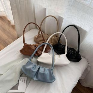Retro niche fold baguette bag soft underarm bag spring new solid color shoulder bag NHPB212182's discount tags