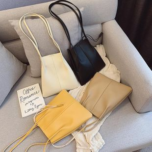 New spring wild solid color shoulder bag pumping bucket bag simple fashion casual tote bag NHPB212184's discount tags