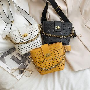 Spring new fashion wild hollow shoulder messenger bag simple casual chain lock bucket bag NHPB212194's discount tags