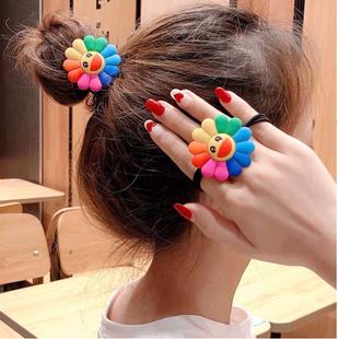 Korean new cute wild colorful sun flower smiley rainbow cheap scrunchies yiwu nihaojewelry wholesale NHSC212264's discount tags