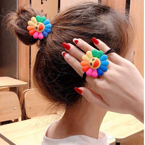 Korean new cute wild colorful sun flower smiley rainbow cheap scrunchies yiwu nihaojewelry wholesale NHSC212264's discount tags