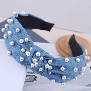 Korean simple nail pearl denim knotted retro headband yiwu nihaojewelry wholesale NHSC212262's discount tags