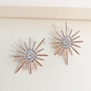 New Sun Flower Star Stud Earrings Exaggerated Pearl Diamond Earrings Wholesale NHJJ212315's discount tags